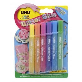 Клеящие блестки UHU Creativ' Glitter Glue 6*10 мл