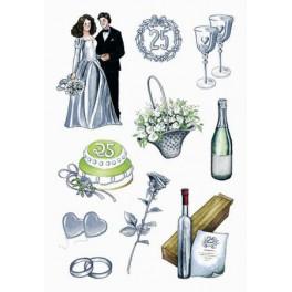 Наклейки Creative 2d Серебряная Свадьба